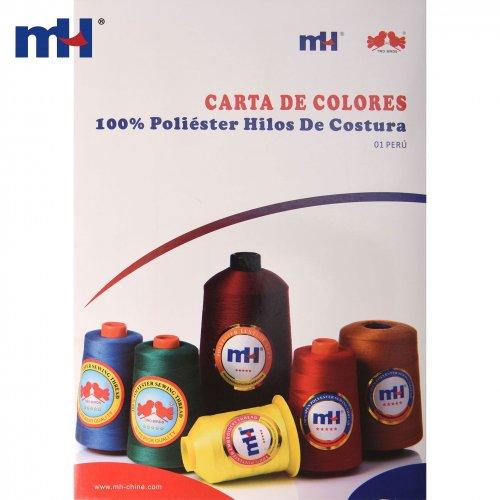 Carta de color de hilo de coser de poliéster PERU